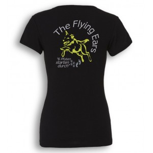 The Flying Ears - Ladies' Tee V-Neck mit Stickerei