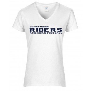 Schiefbahn Riders - Premium Cotton Ladies V-Neck T-Shirt Schrift