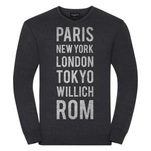 All those Places - Men's V-Neck Knitted Pullover